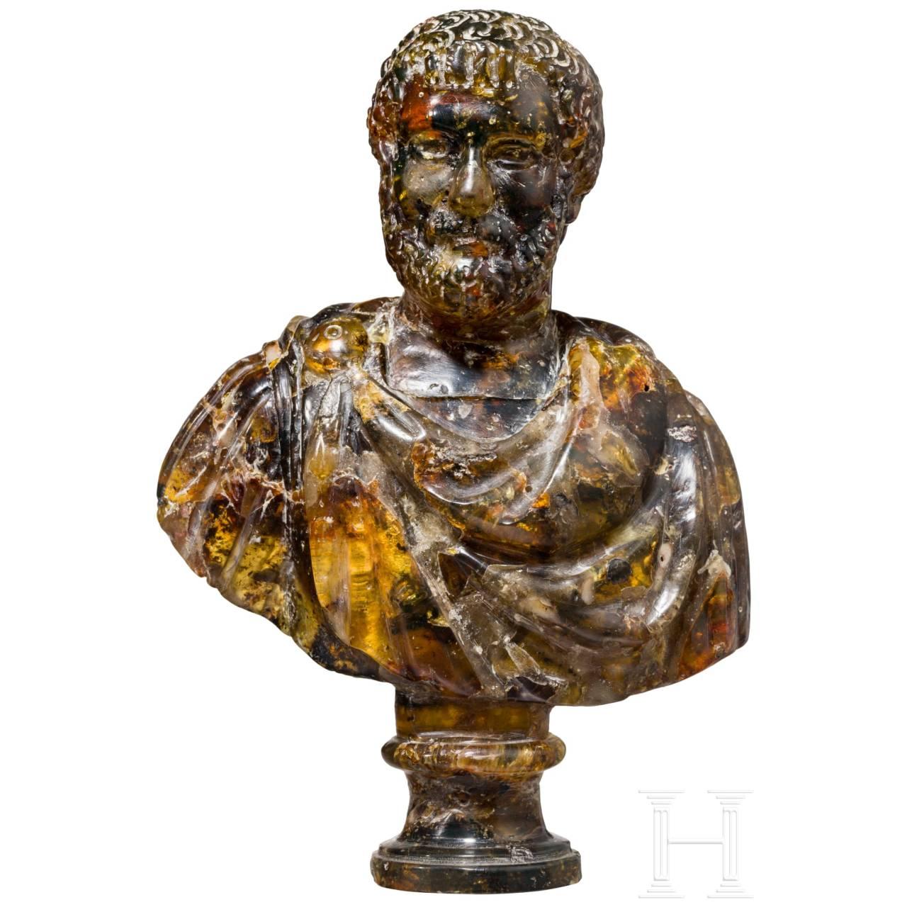 An amber bust of a Roman emporer