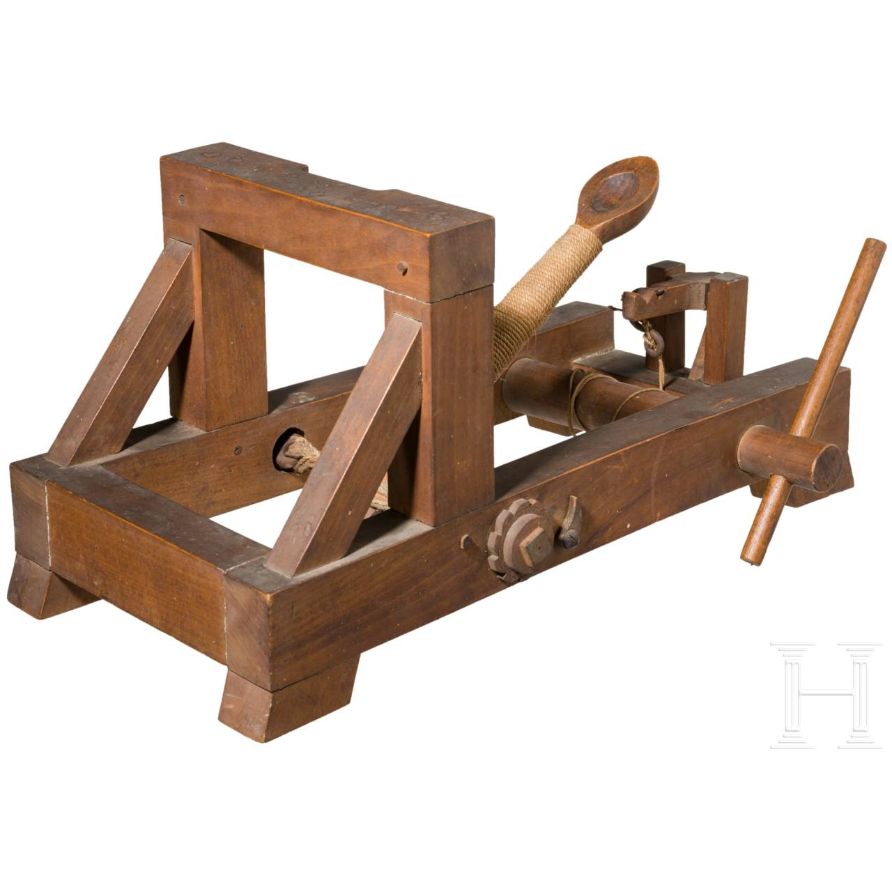 A detailed model of a catapult, circa 1900
