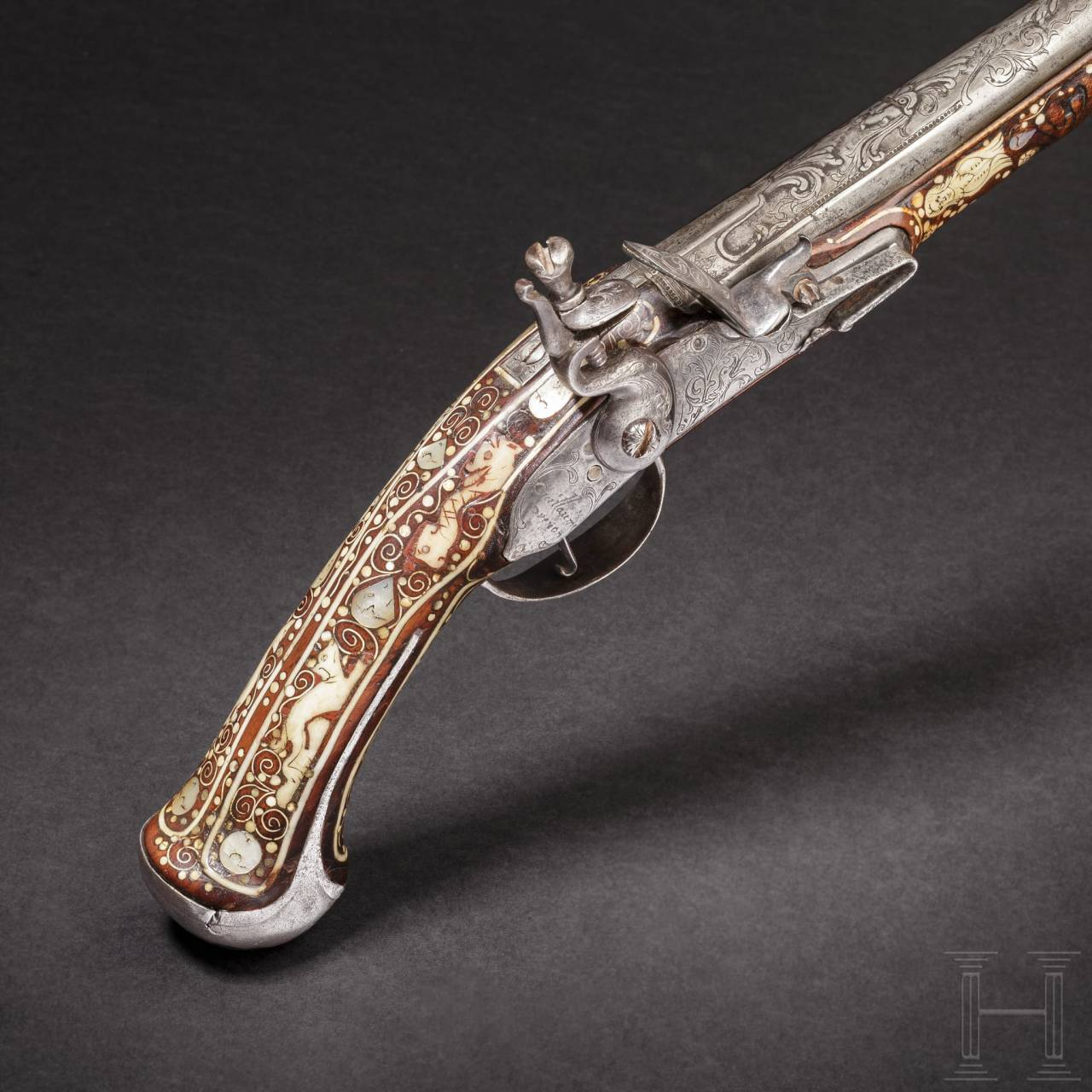 A Bohemian flintlock pistol with lavish bone inlays, circa 1690/1700