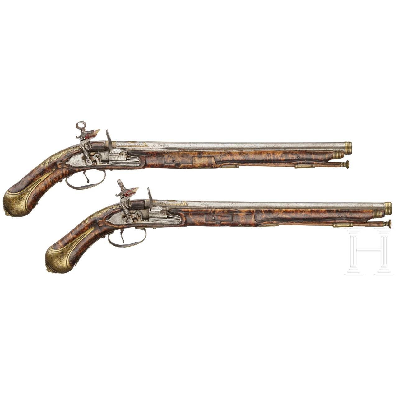 A pair of Miquelet pistols by Caltrani in Gardone Val Trompia, 1st half of the 18th century