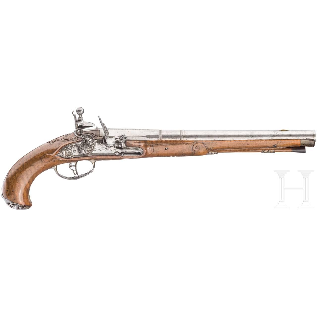 A ciseled flintlock pistol, Luca Geugno, ca. 1750