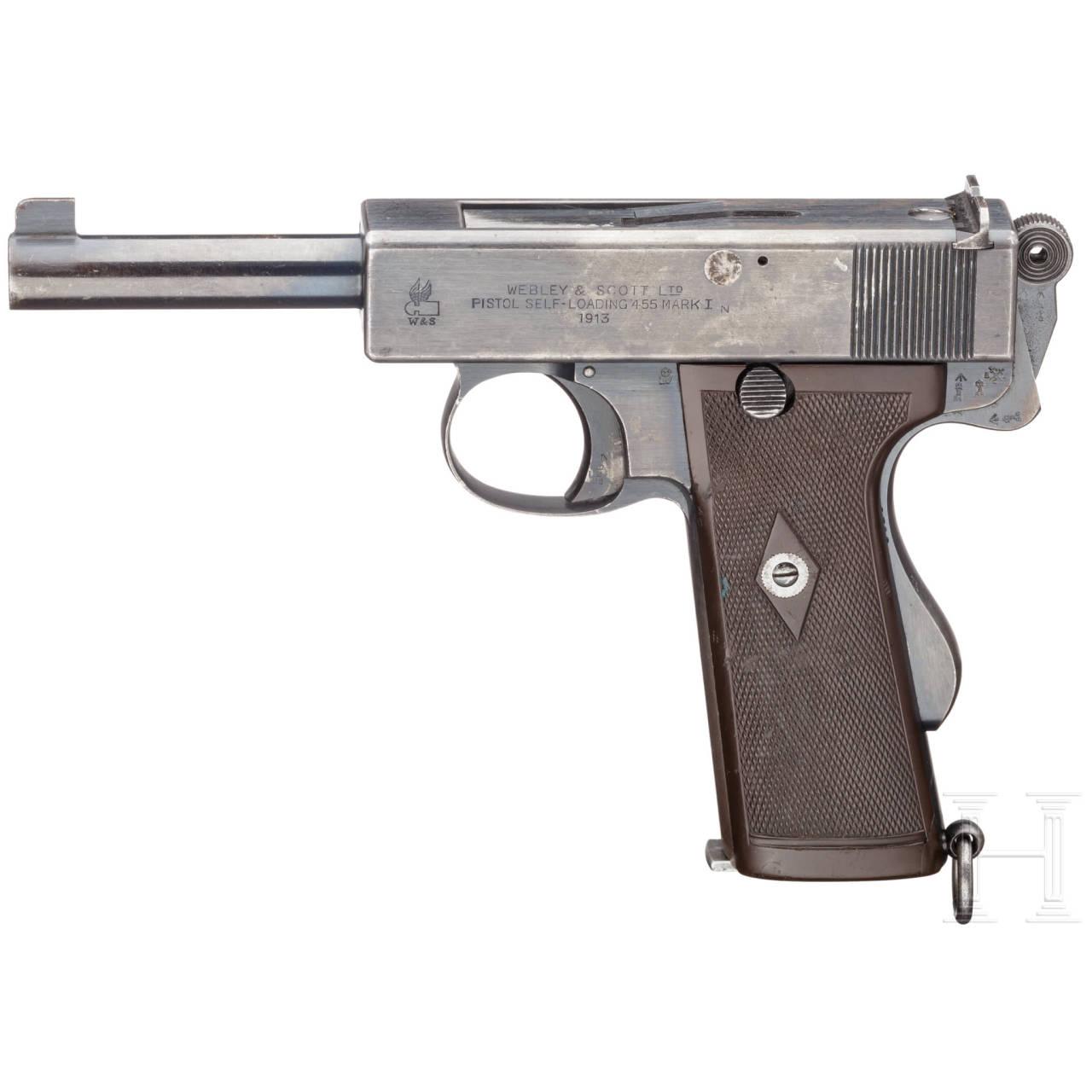 A Webley & Scott Mark I N (Navy model) with holster