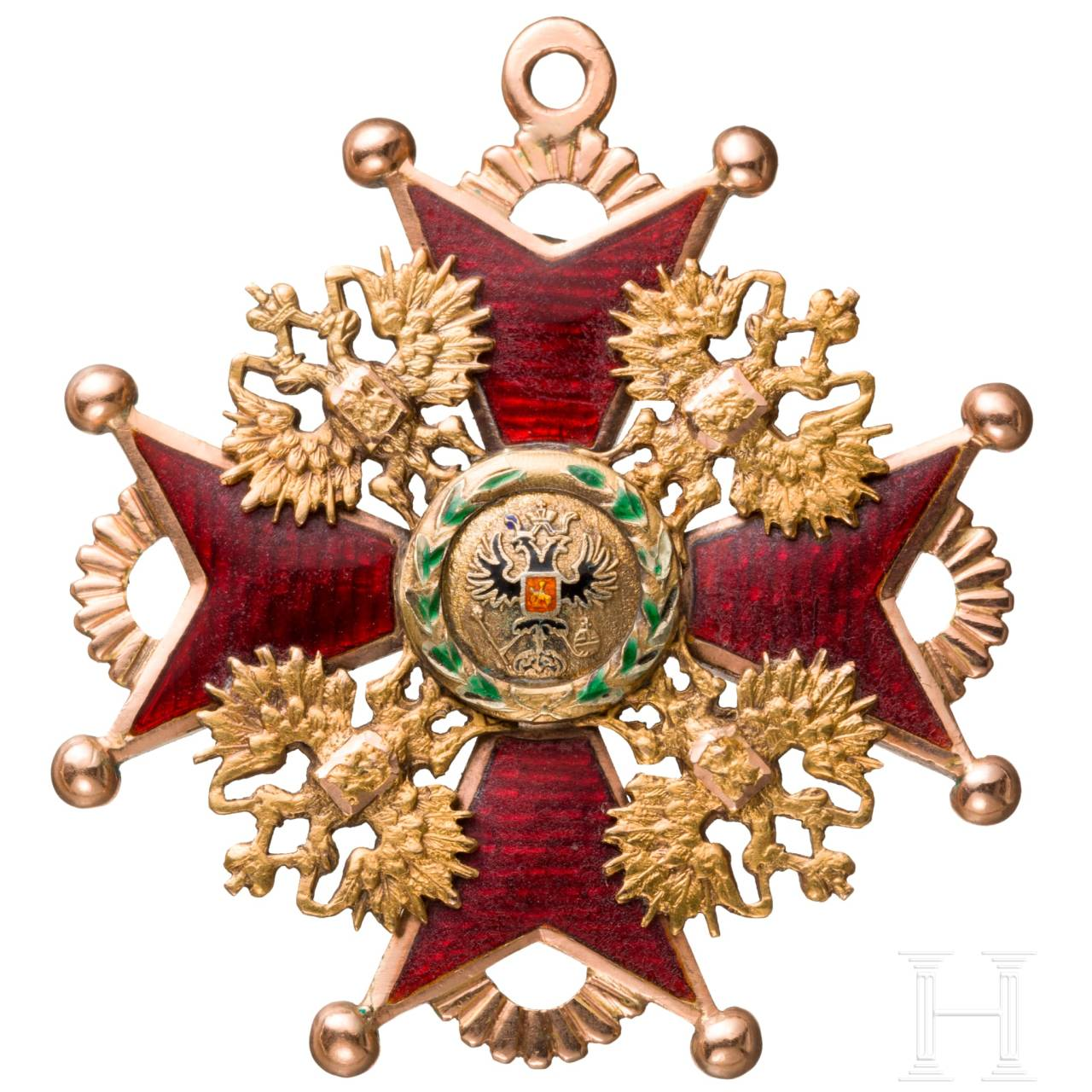 An Order of St. Stanislaus in Gold, 2nd class badge for non-Christians, Russia, circa 1860/70
