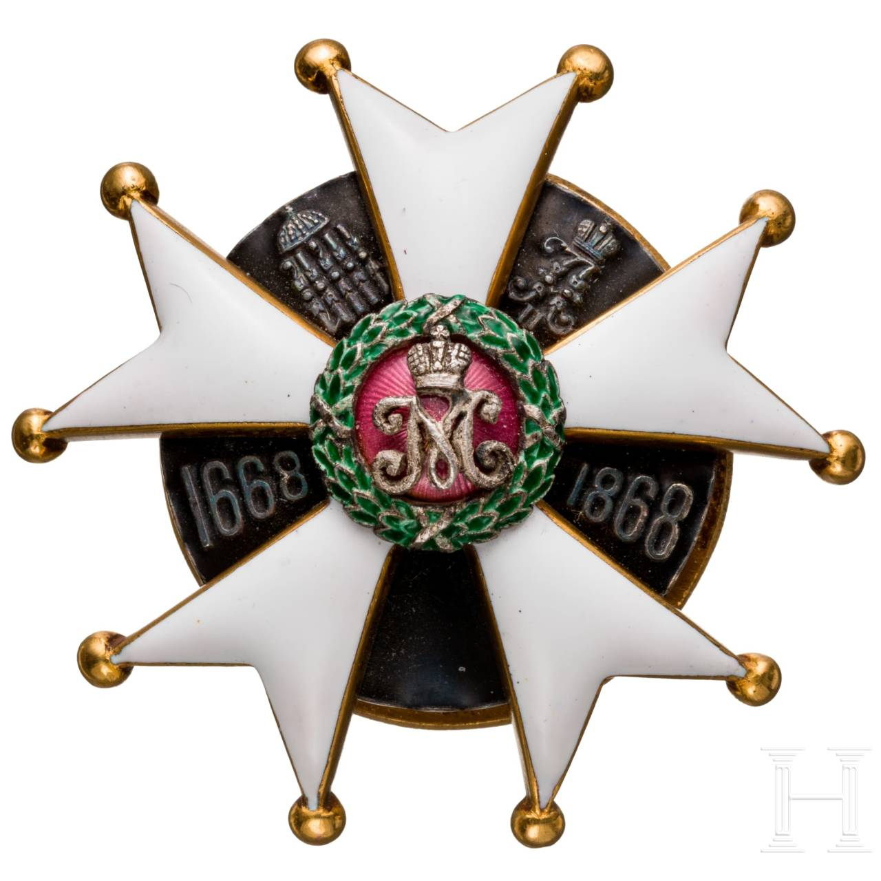 A badge of the 2nd Pskovsky Lifeguards Regiment of Her Imperial Majesty Maria Feodorovna, Russia, circa 1913/15