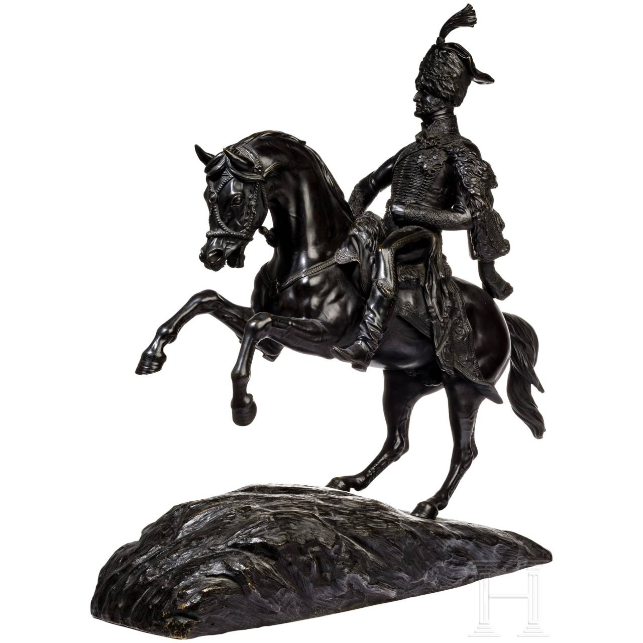General Charles Vane Stewart, 3rd Marquis of Londonderry – a French equestrian bronze statue, 19th century