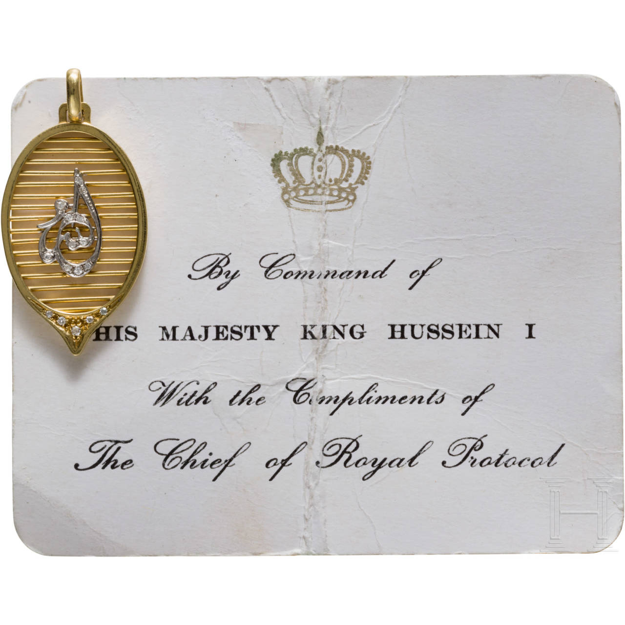 King Hussein I of Jordan (1935-99) - a diamond-studded gold pendant