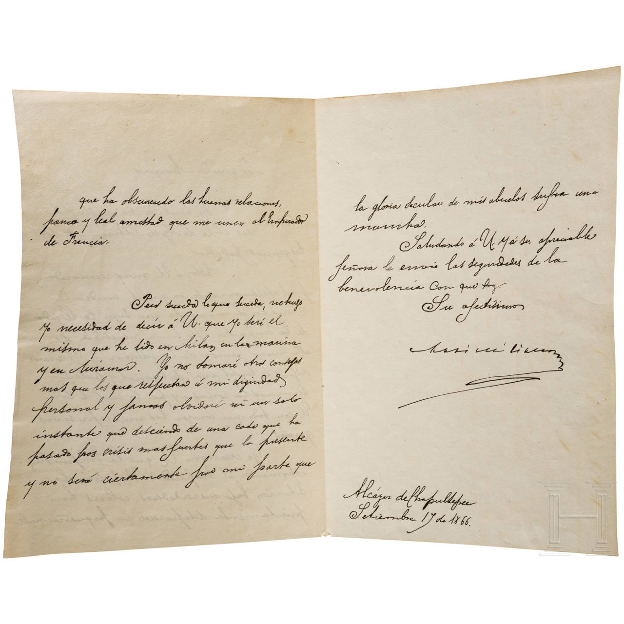 Emperor Maximilian I of Mexico (1832-67) - a letter dated 19 September 1866, written and signed in his own hand