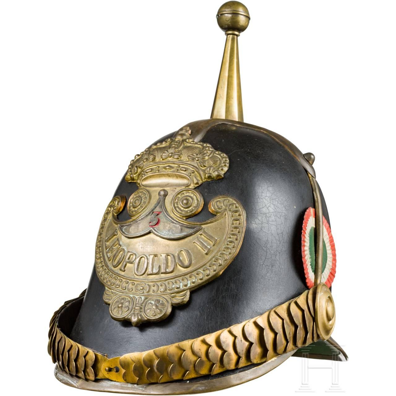 """Helm der """"Guardia Civica"""" aus der Regierungszeit Leopolds II., Großherzog der Toskana (1824-59)"""