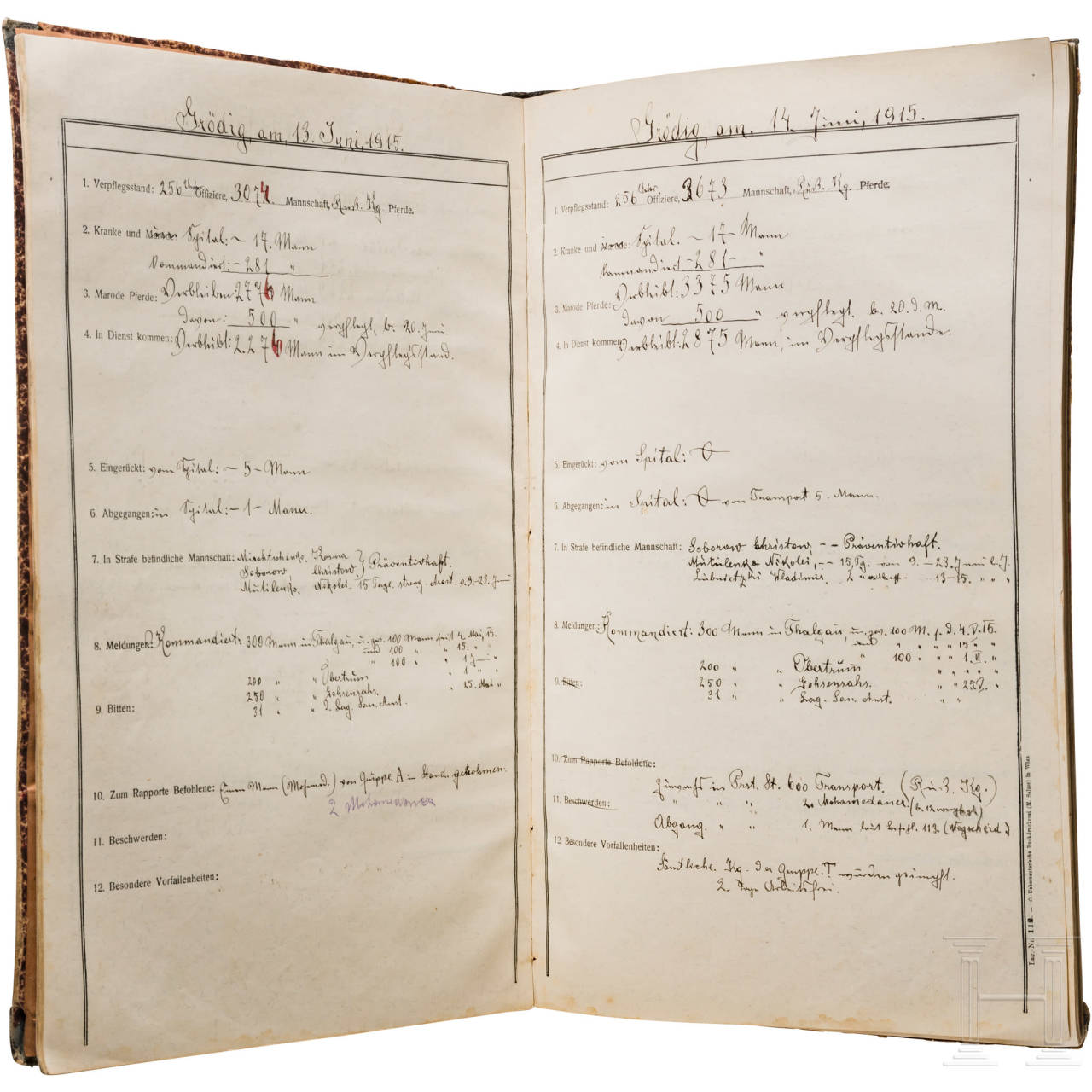 A report book of the POW camp Grödig from 7.7. to 22.11.1915