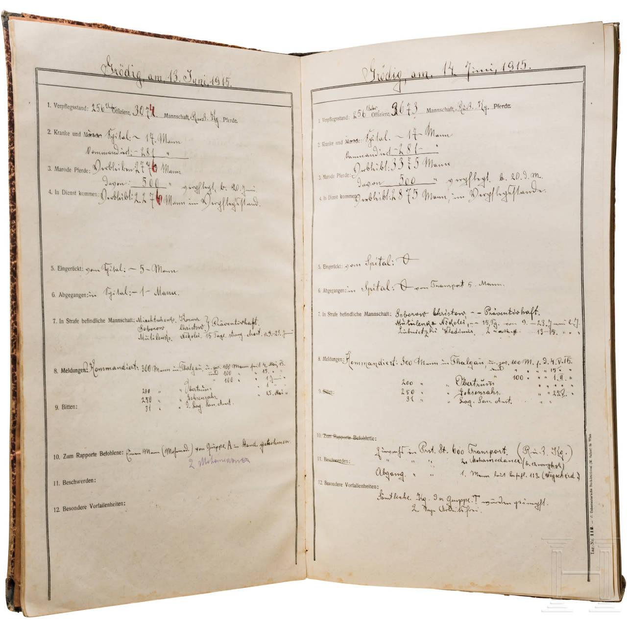 Rapportbuch des Kriegsgefangenenlagers Grödig vom 7.7. bis 22.11.1915