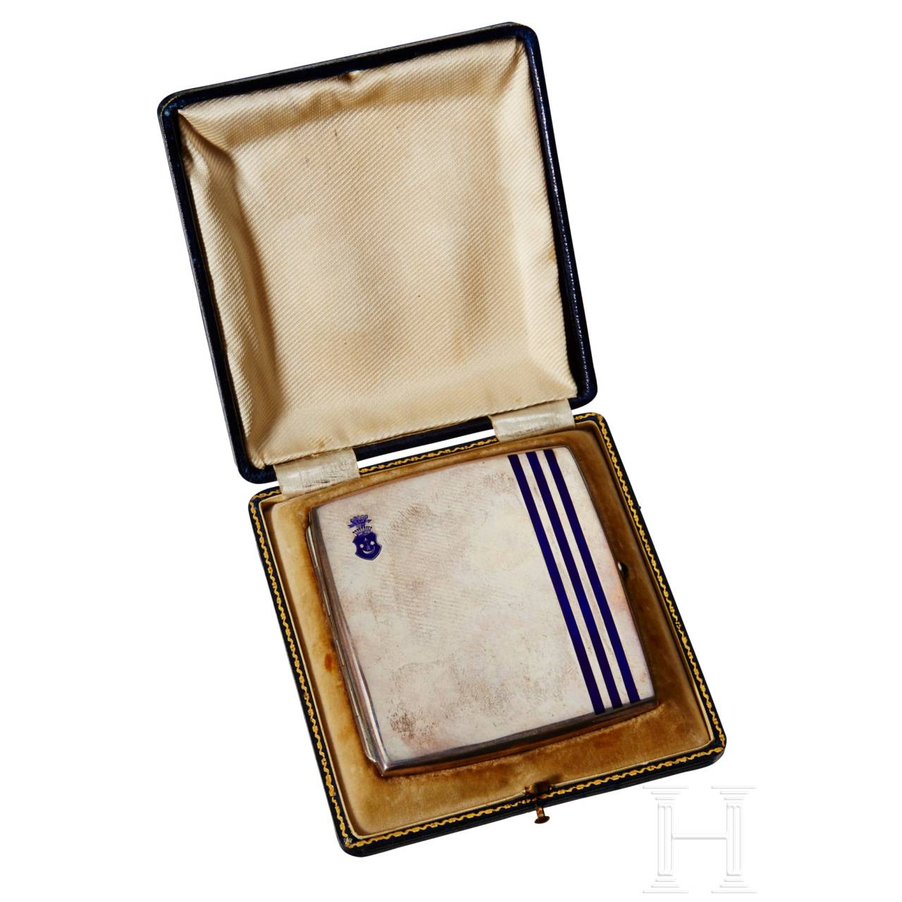 A Silver Trophy Cigarette Case for Horse Jumping