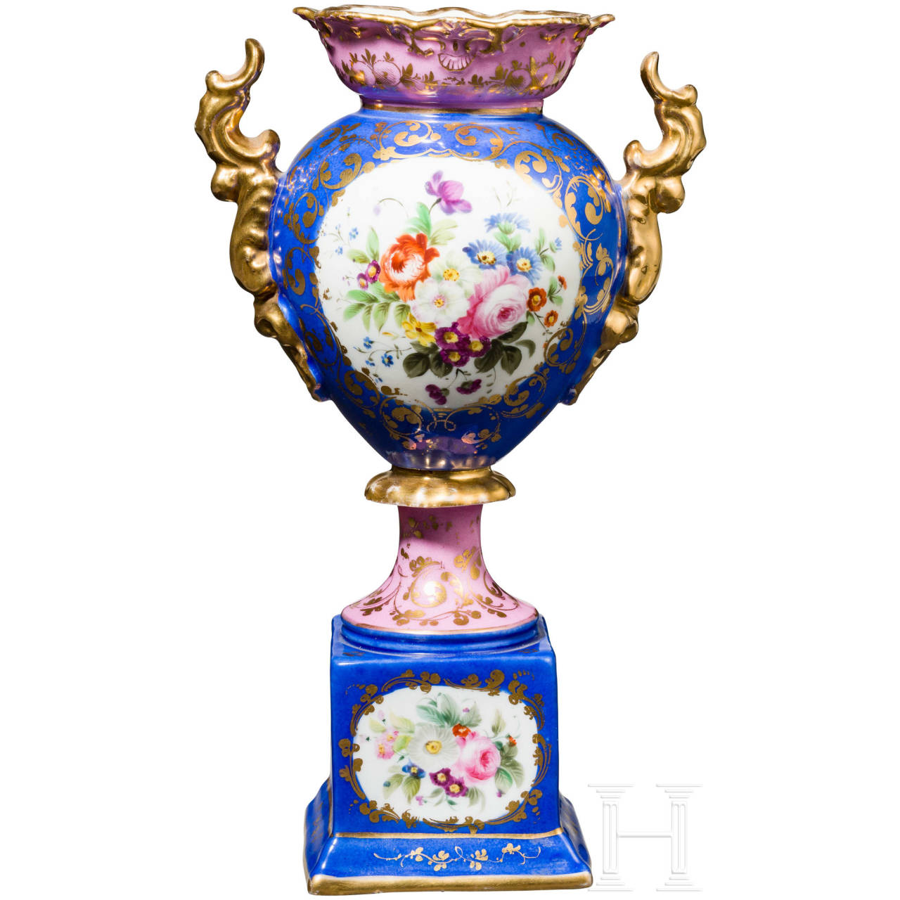 Handpainted vase, Russian private manufactory, Russia, mid-19th Century