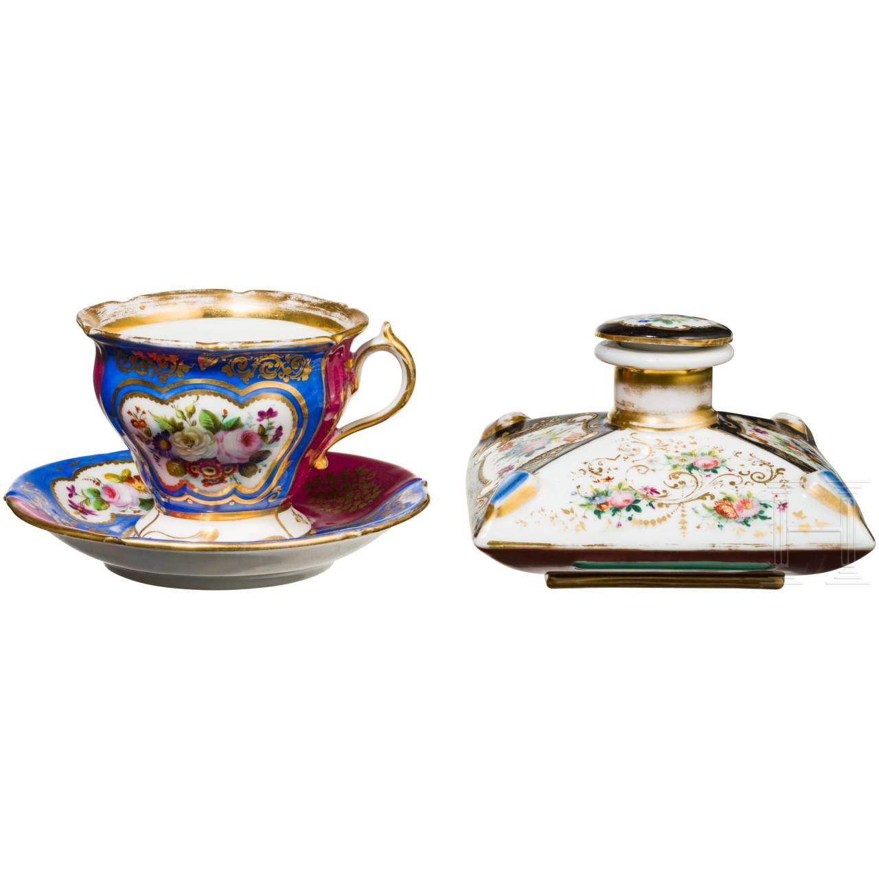 An inkwell or perfume bottle owned by Grand Duchess Olga Nikolaevna Romanova and a tea cup, probably Russian private manufactory, mid-19th century