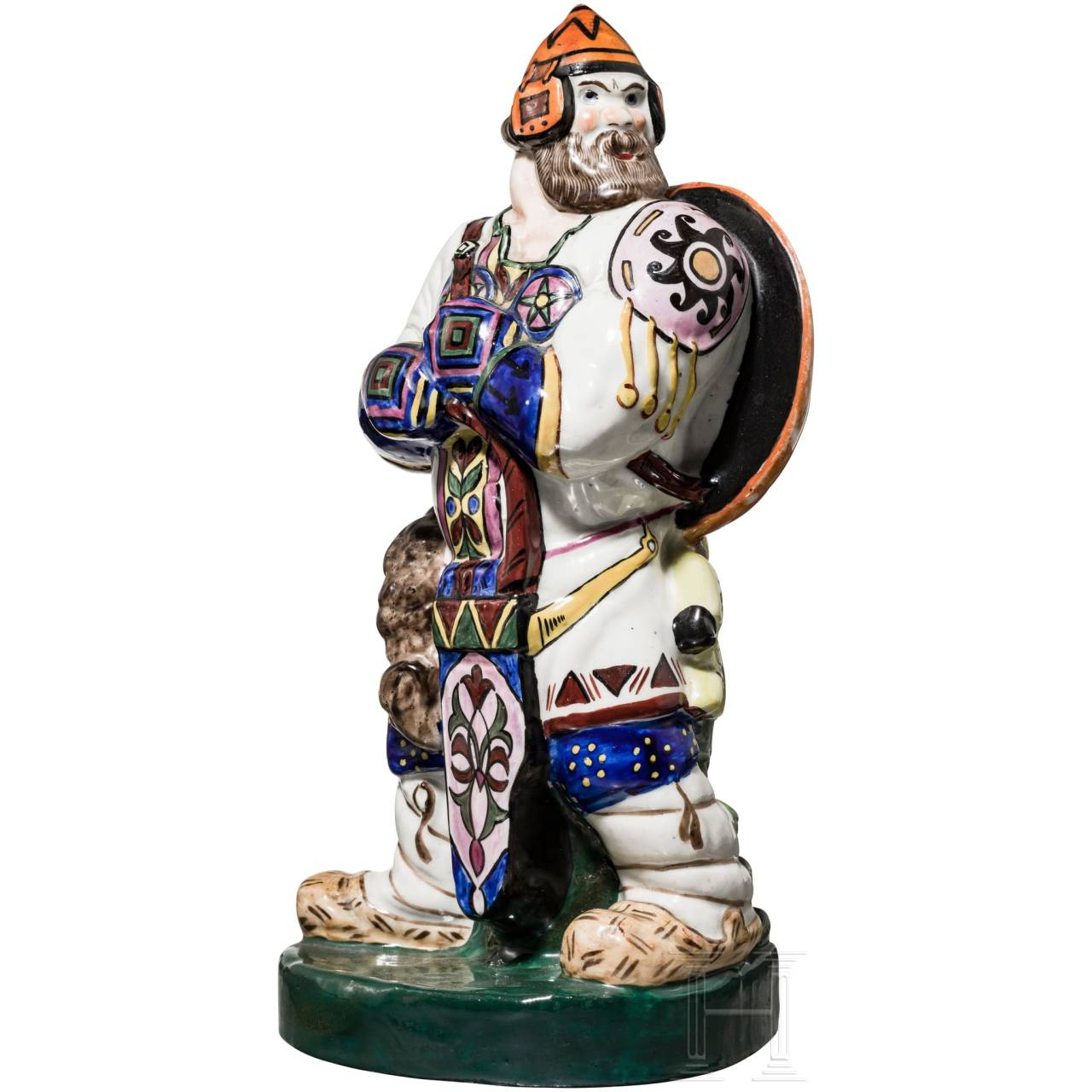 A hand-painted porcelain figurine of a bogatyr in neo-Russian style, Russia, circa 1915 – 1925