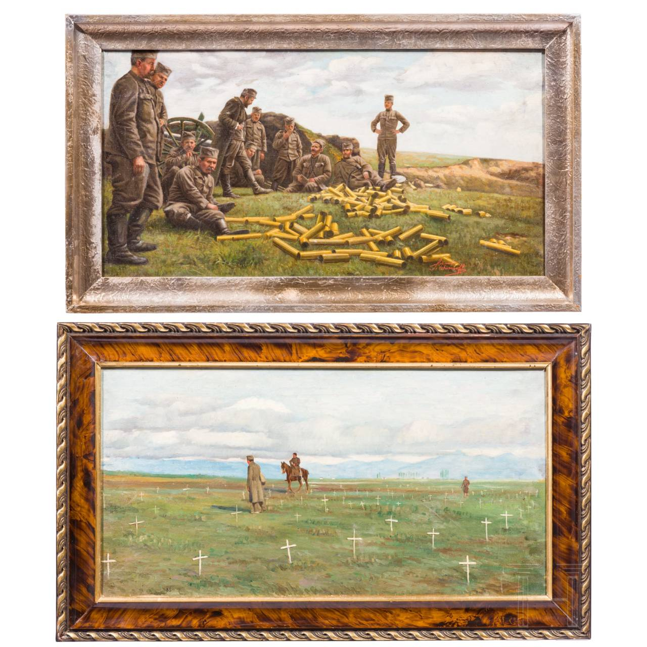 Two military oil paintings, 20th century
