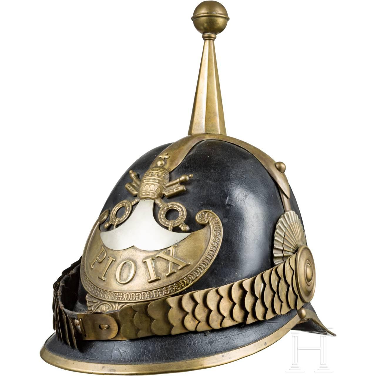 "A helmet for members of the ""Guardia Civica Pontificia"" from the pontificate Pius IX (1846-78)"