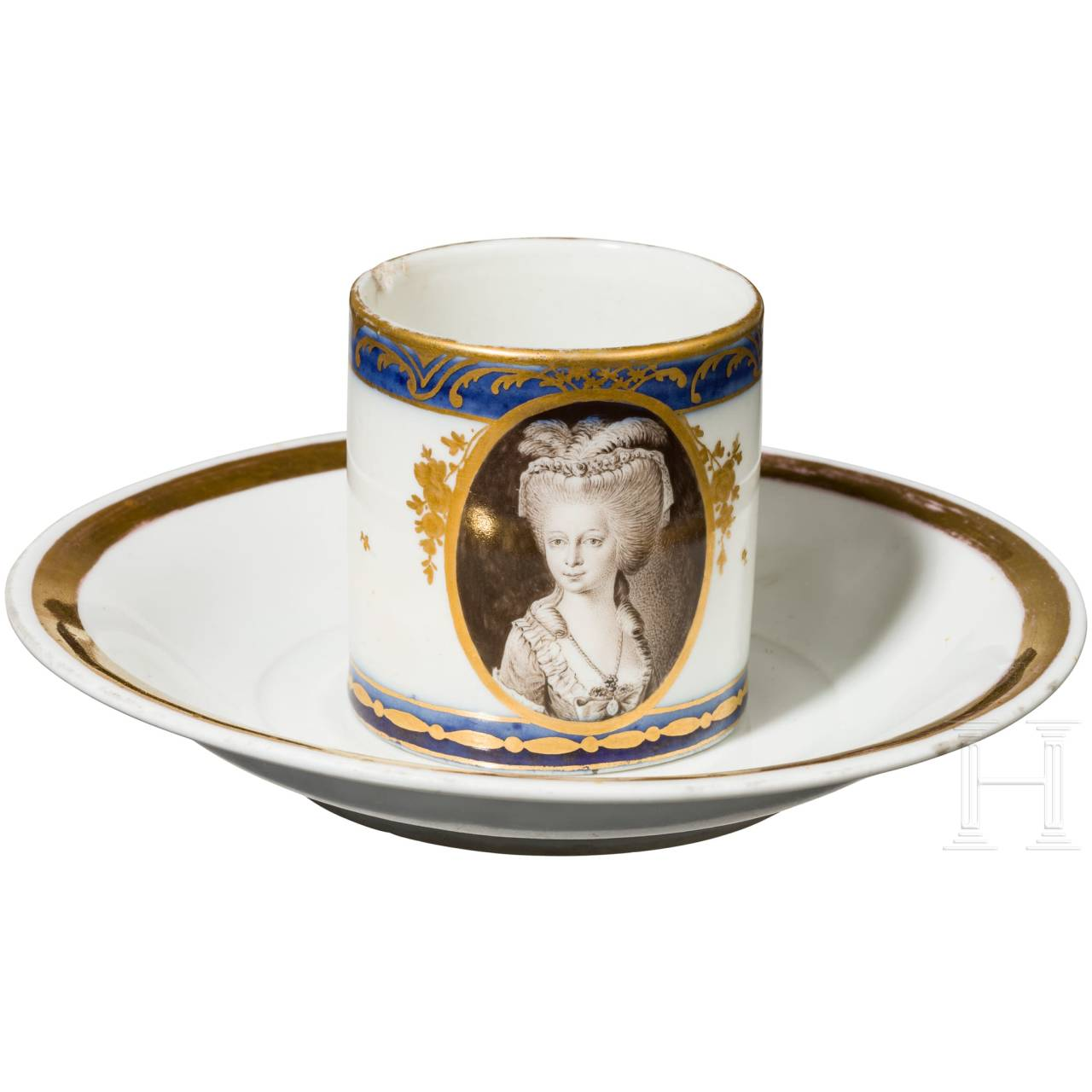 A cup with portrait of a lady, late 18th century