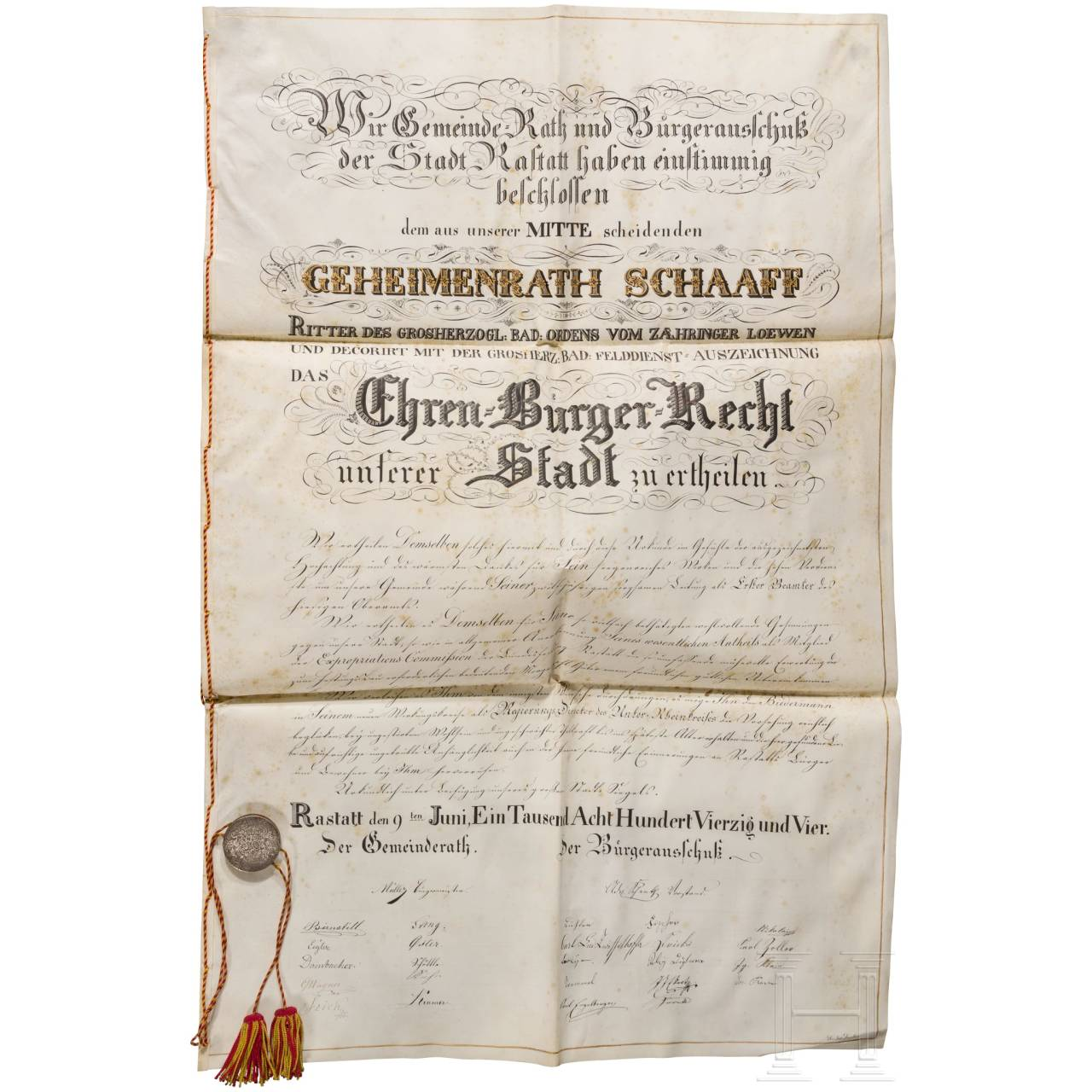Privy Councillor Friedrich Theodor Schaaff - Honorary Citizenship Certificate of the City of Rastatt 1844
