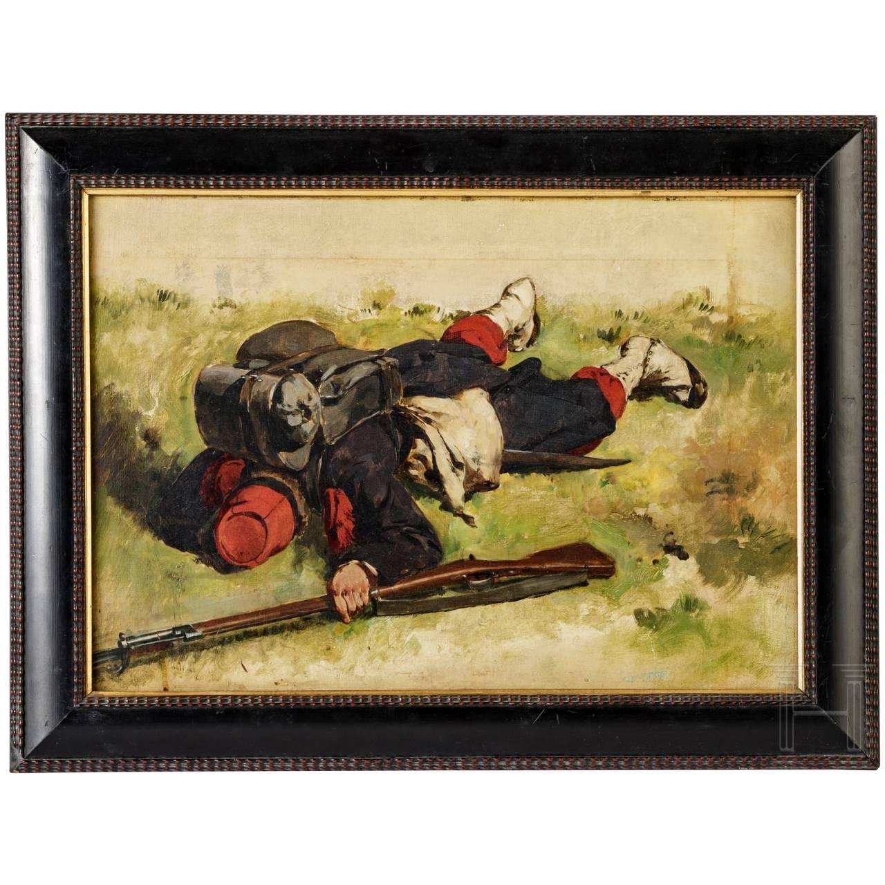 Prof. Louis Braun (1836 - 1916) - Studie eines gefallenen französischen Soldaten, um 1870