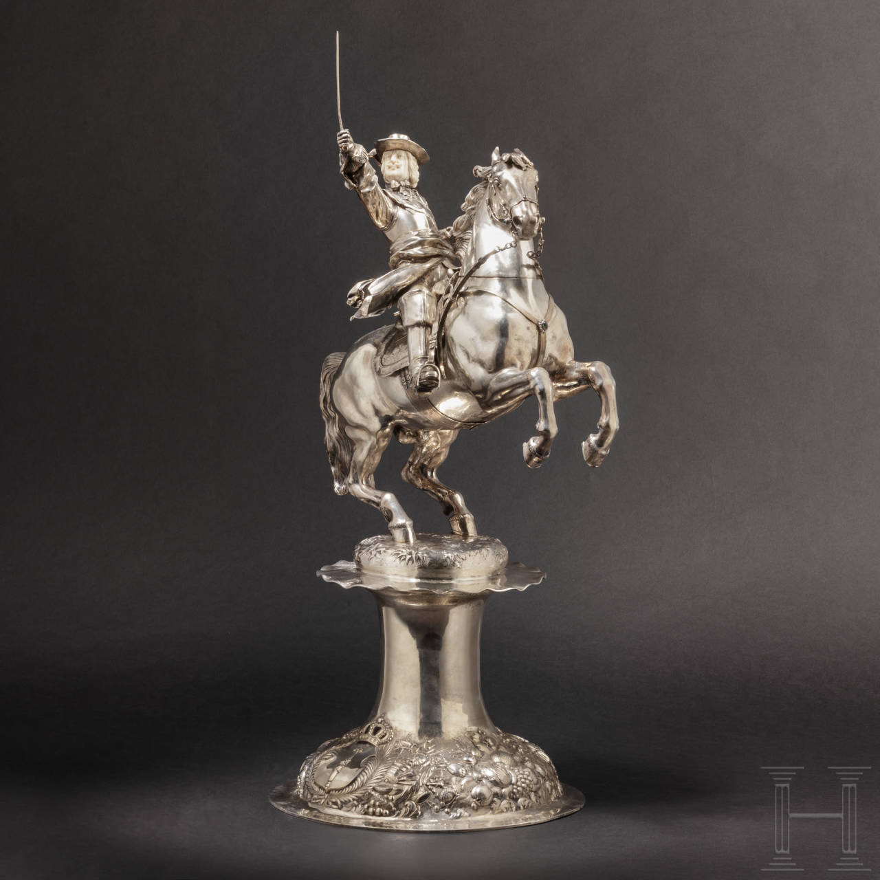 A monumental German equestrian figure of silver in honour of the Great Elector Friedrich Wilhelm (1620 – 1688), circa 1900