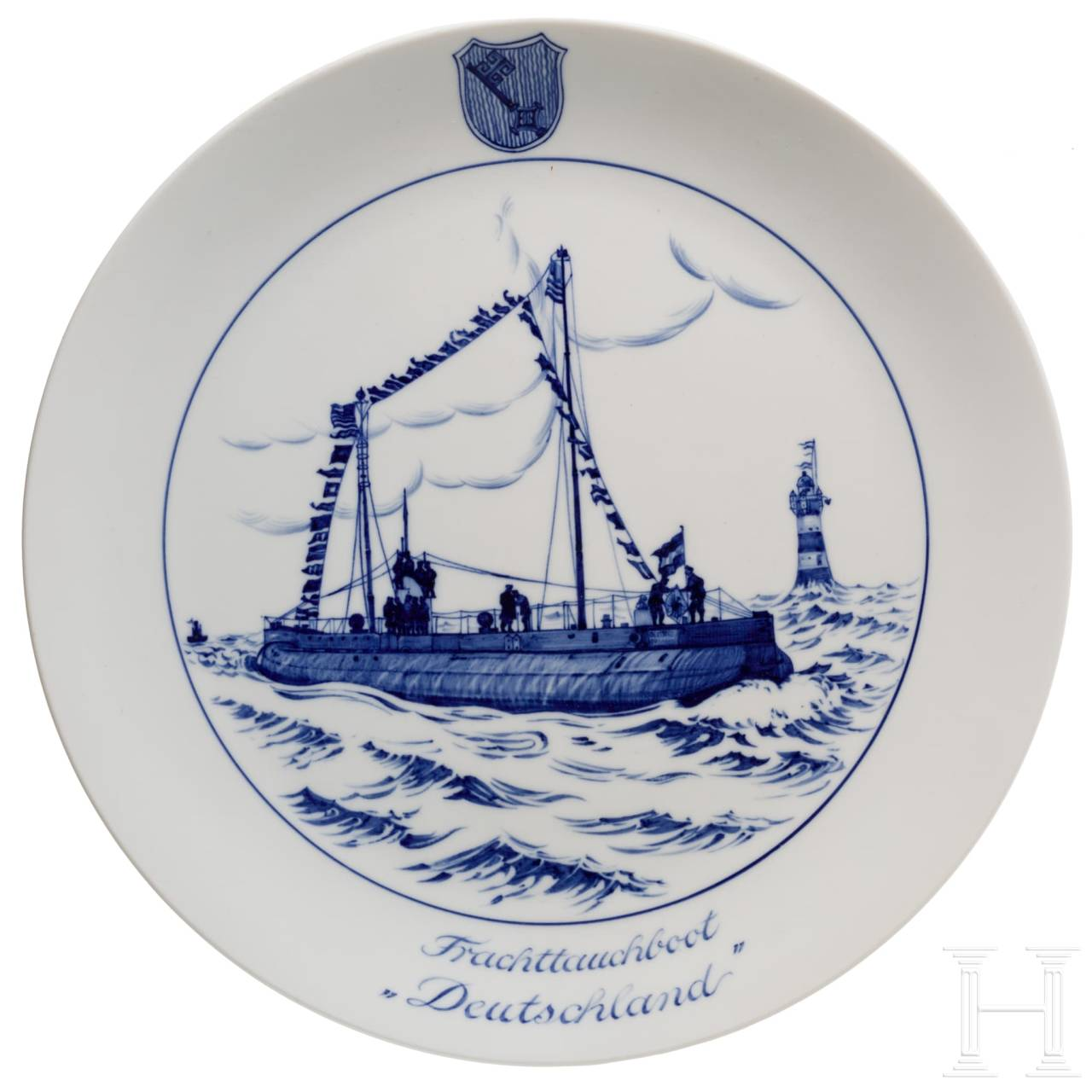 "A Meissen - commemorative plate for the crew members of the ""Frachttauchboot Deutschland"""