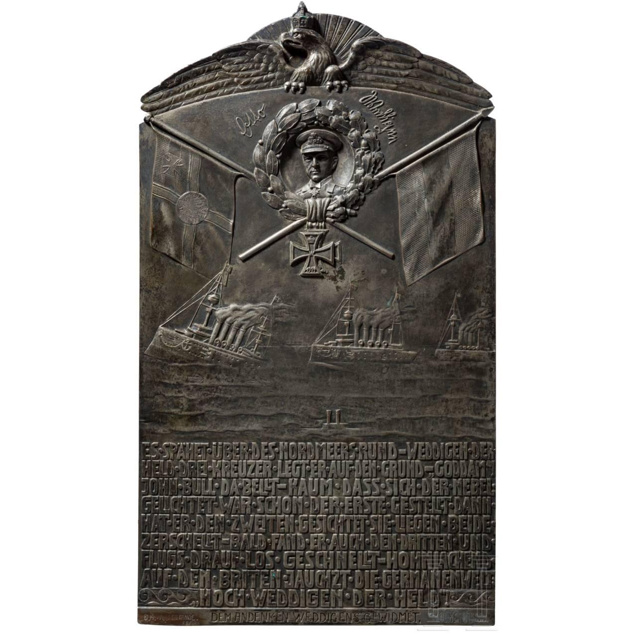 A commemorative plaque to the submarine commander Otto Weddigen