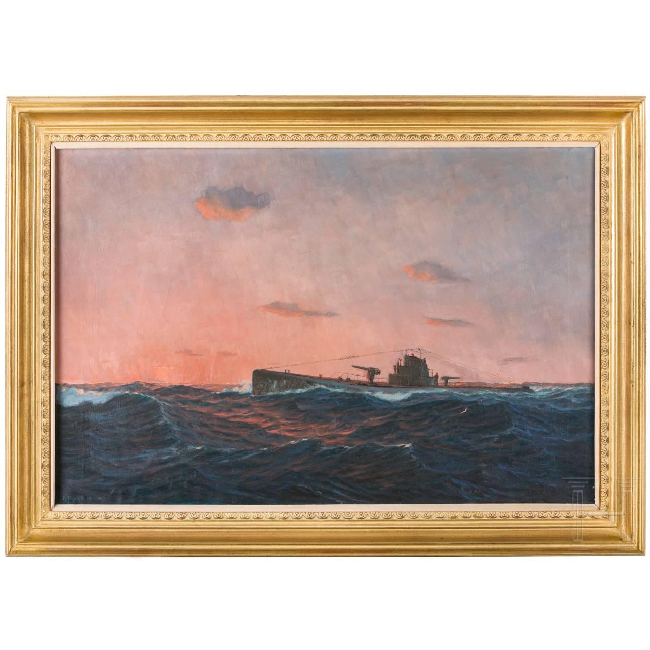 R. Schmitt - a German submarine in stormy sea