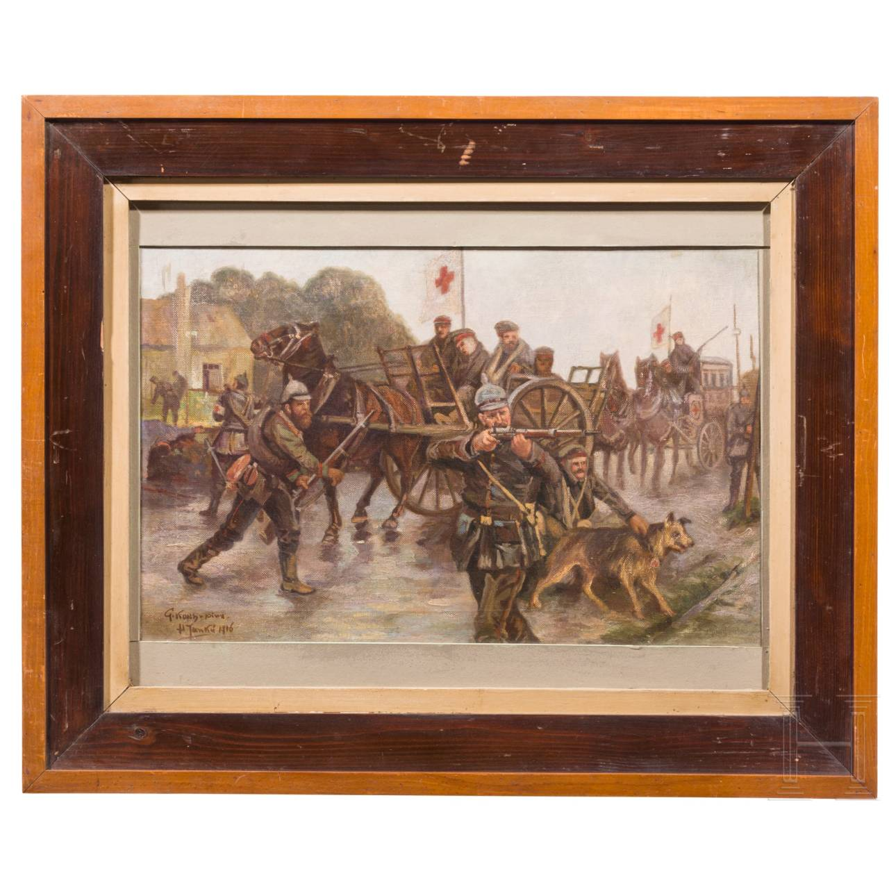 """A painting """"Paramedics under fire"""", dated 1916"""
