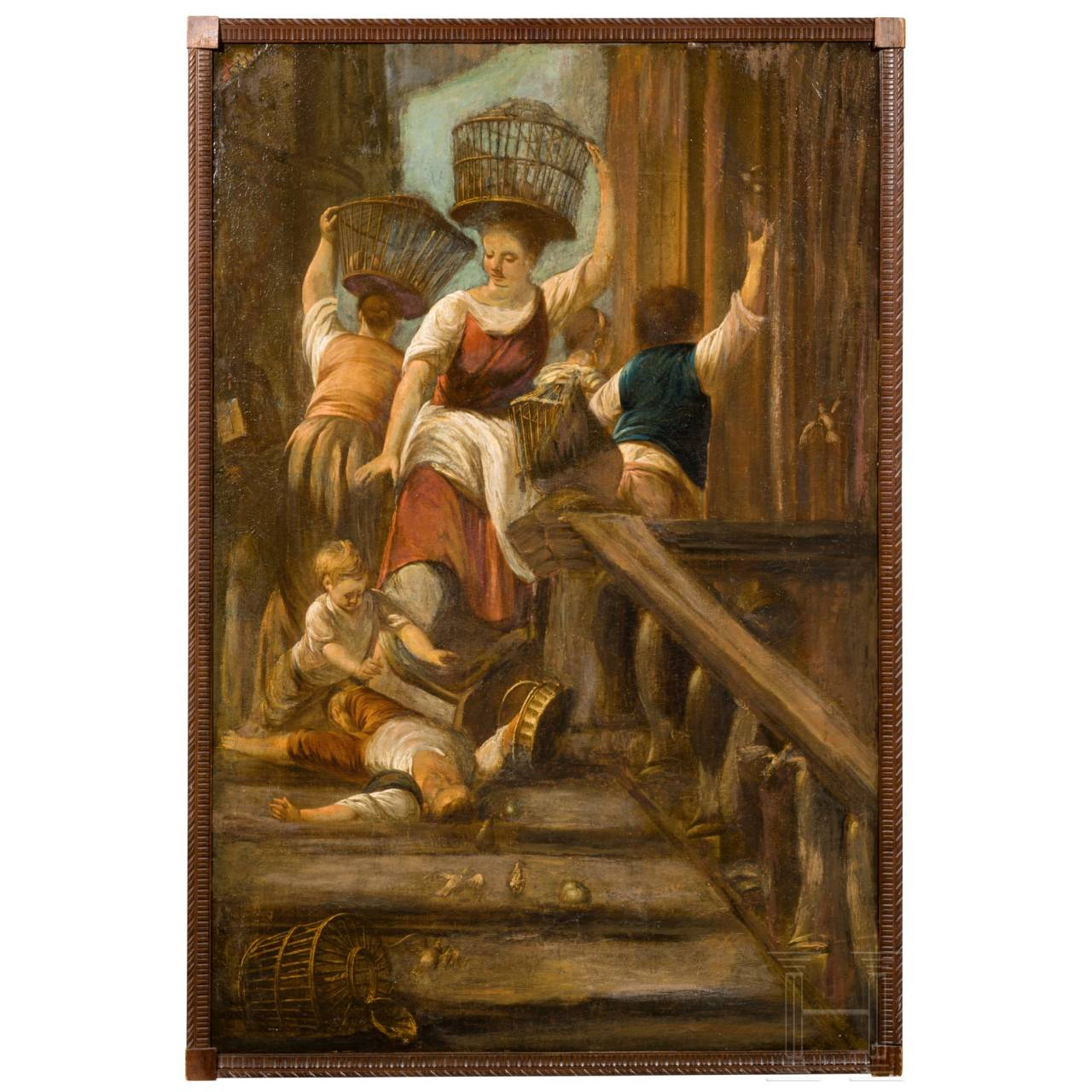 A Flemish/Italian oil painting of bird dealers on a staircase, circa 1700/20
