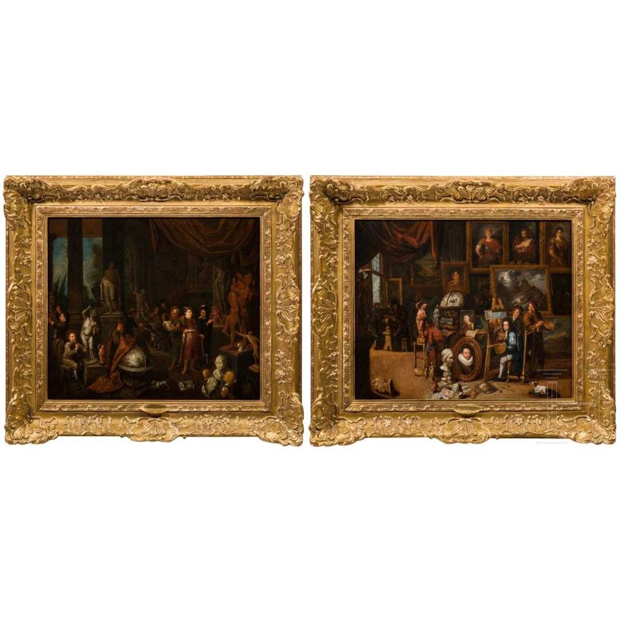 Antwerp Masters – two studio paintings, early 18th century