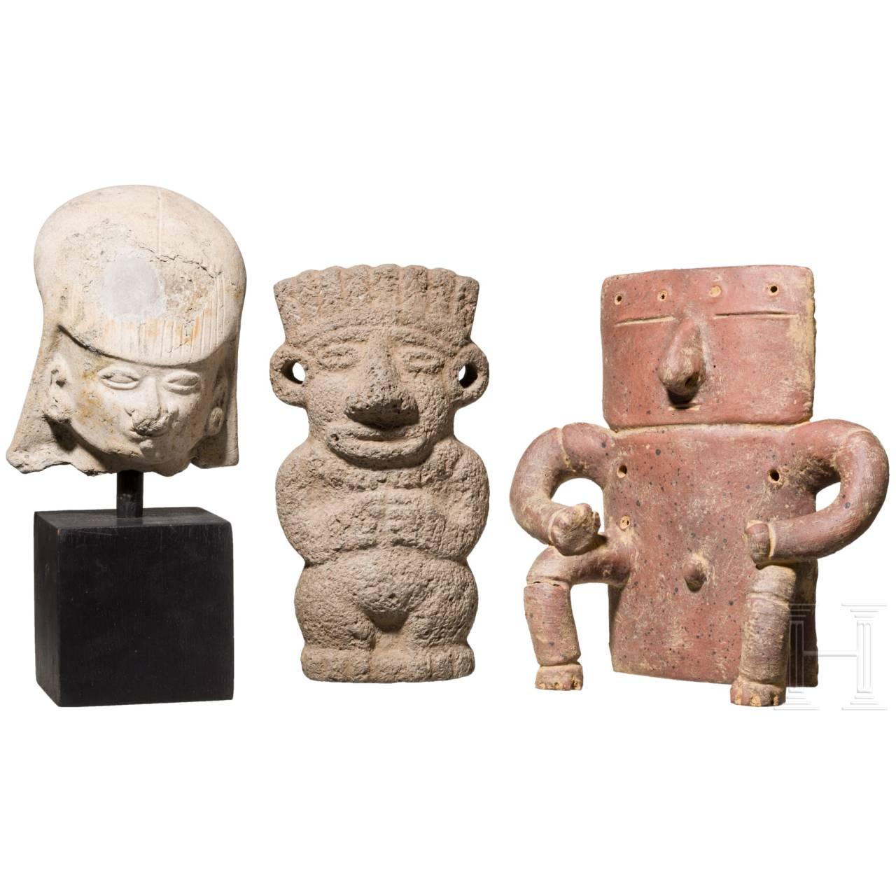 Drei figürliche Darstellungen, Mittel- und Südamerika, ca. 100 – 1500