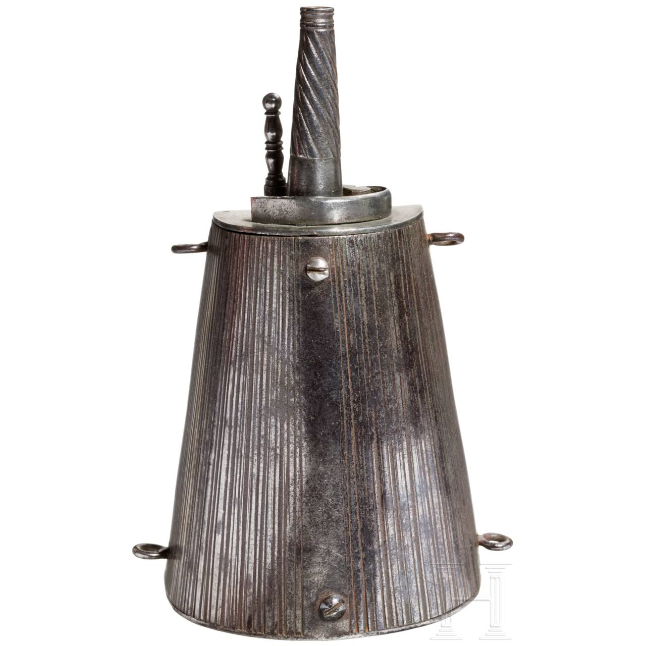 A Brescian iron powder-flask, early 17th century