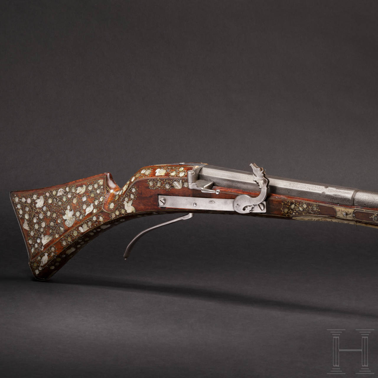An important mother-of-pearl-inlaid matchlock-musket, Dresden, circa 1580/90