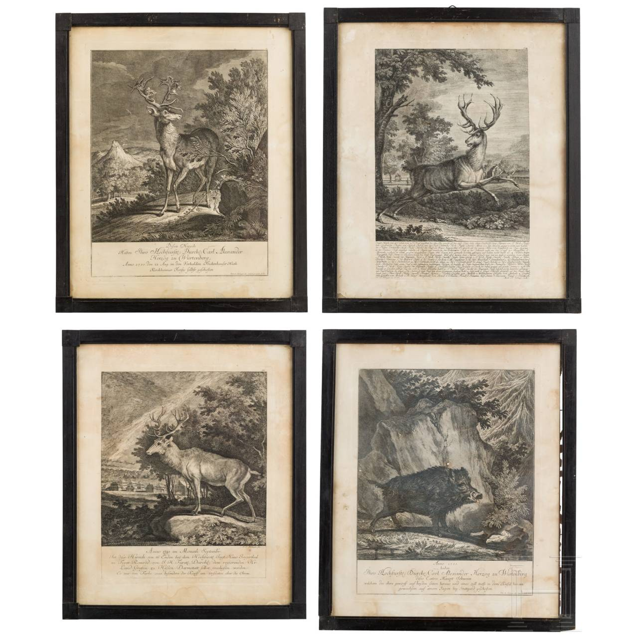 Four engravings by Johan Elias Ridinger, Augsburg, circa 1760