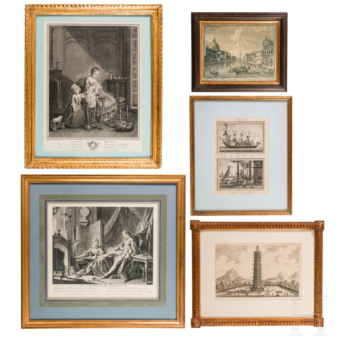 A set of five French and English prints, 18th/19th century