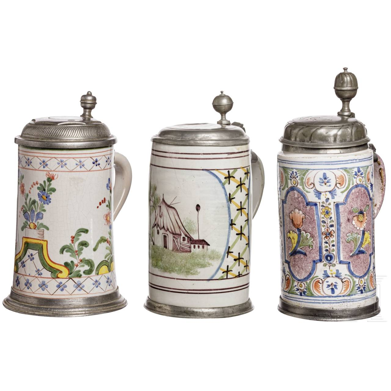 Three Thuringian fayence tankards, 18th und 20th century