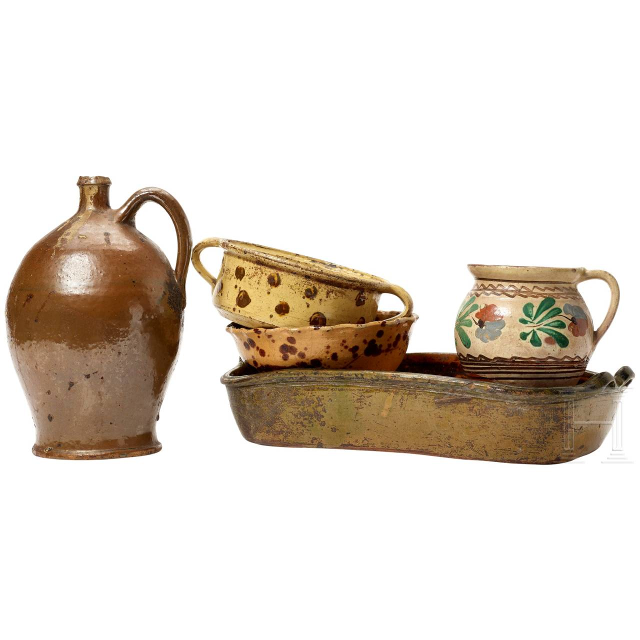 Five South German pieces of pottery, 19th century