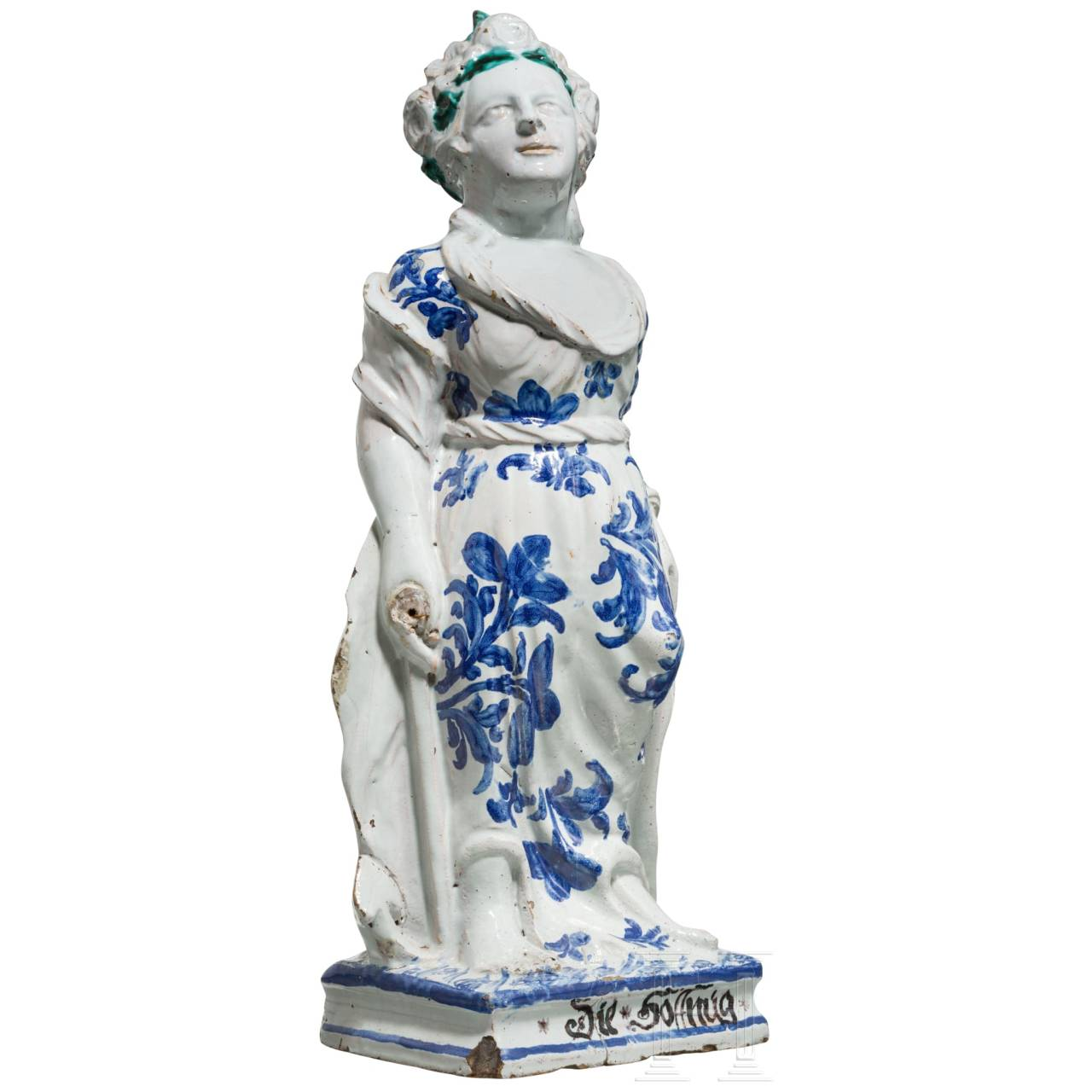 "A southern German Baroque fayance sculpture of ""Hope"", 18th century"