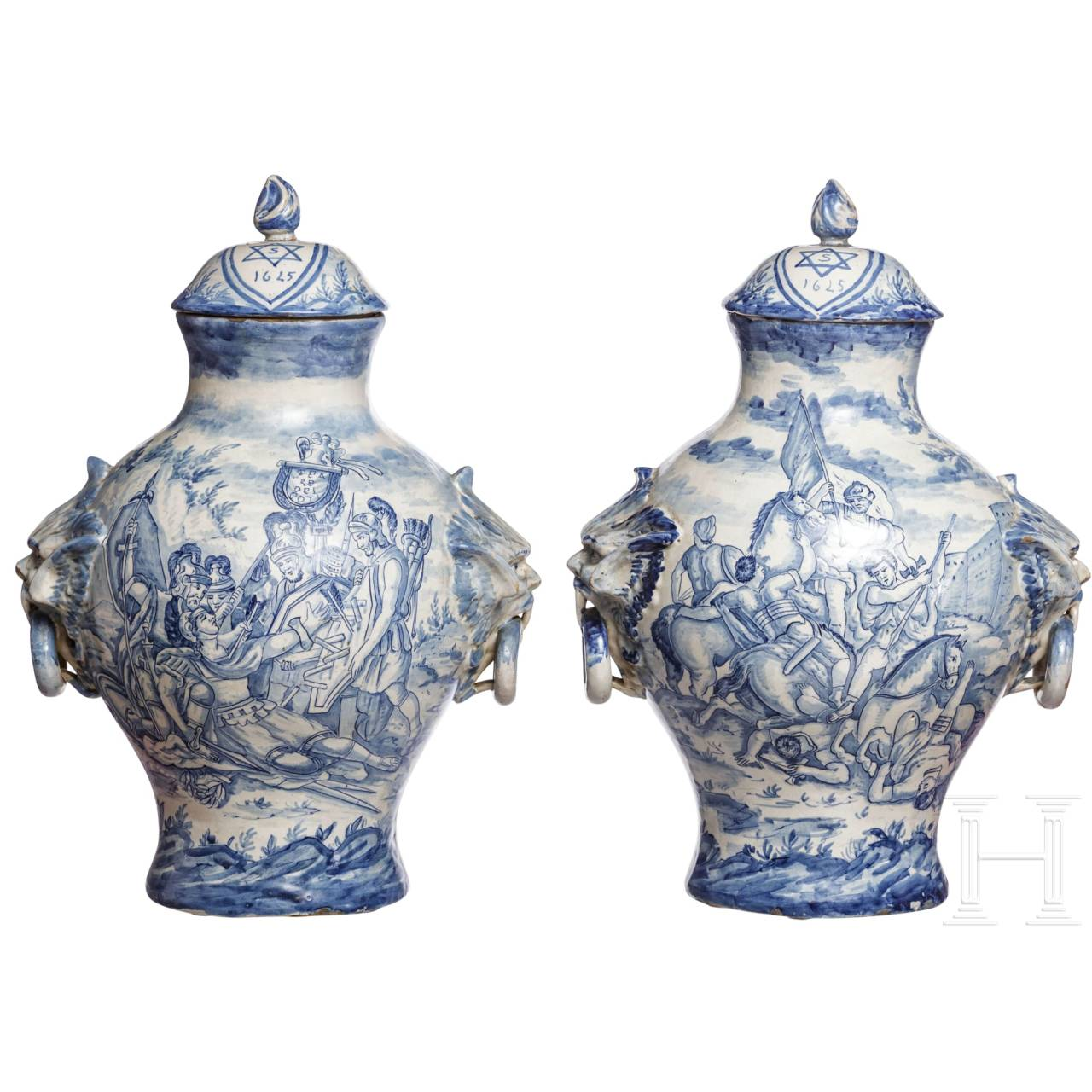 A pair of large Italian Fayance cover vases, 19th century