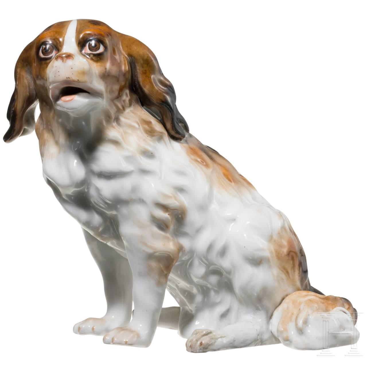 "A porcelain sculpture of a Bolognese dog ""Augustus Rex"", Dresden, probably 19th century"