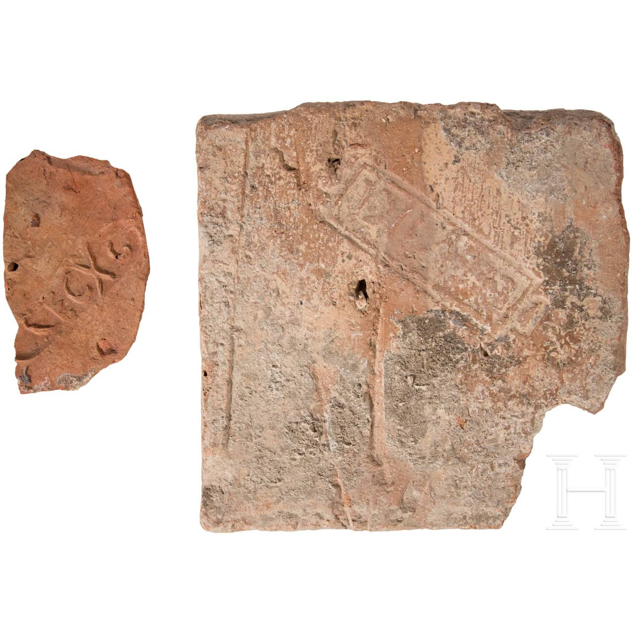 Two Roman brick fragments with stamps of the 7th and 10th legion, 2nd - 3rd century.