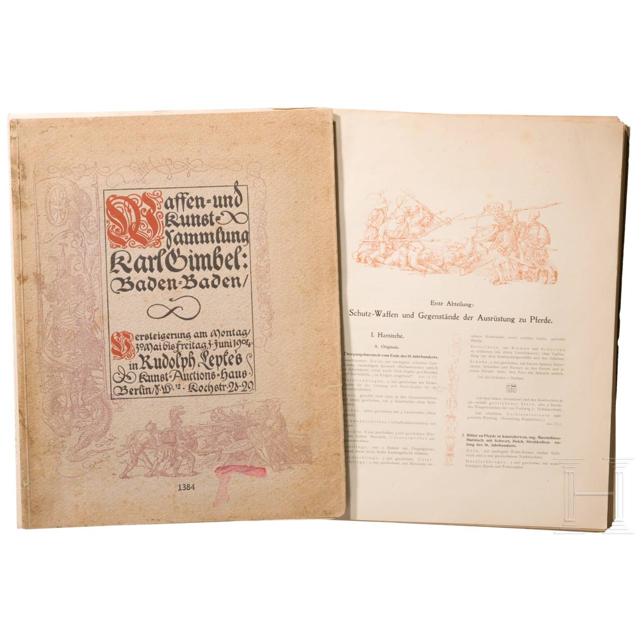 Auction catalogue of the Karl Gimbel weapons collection, Berlin 1904