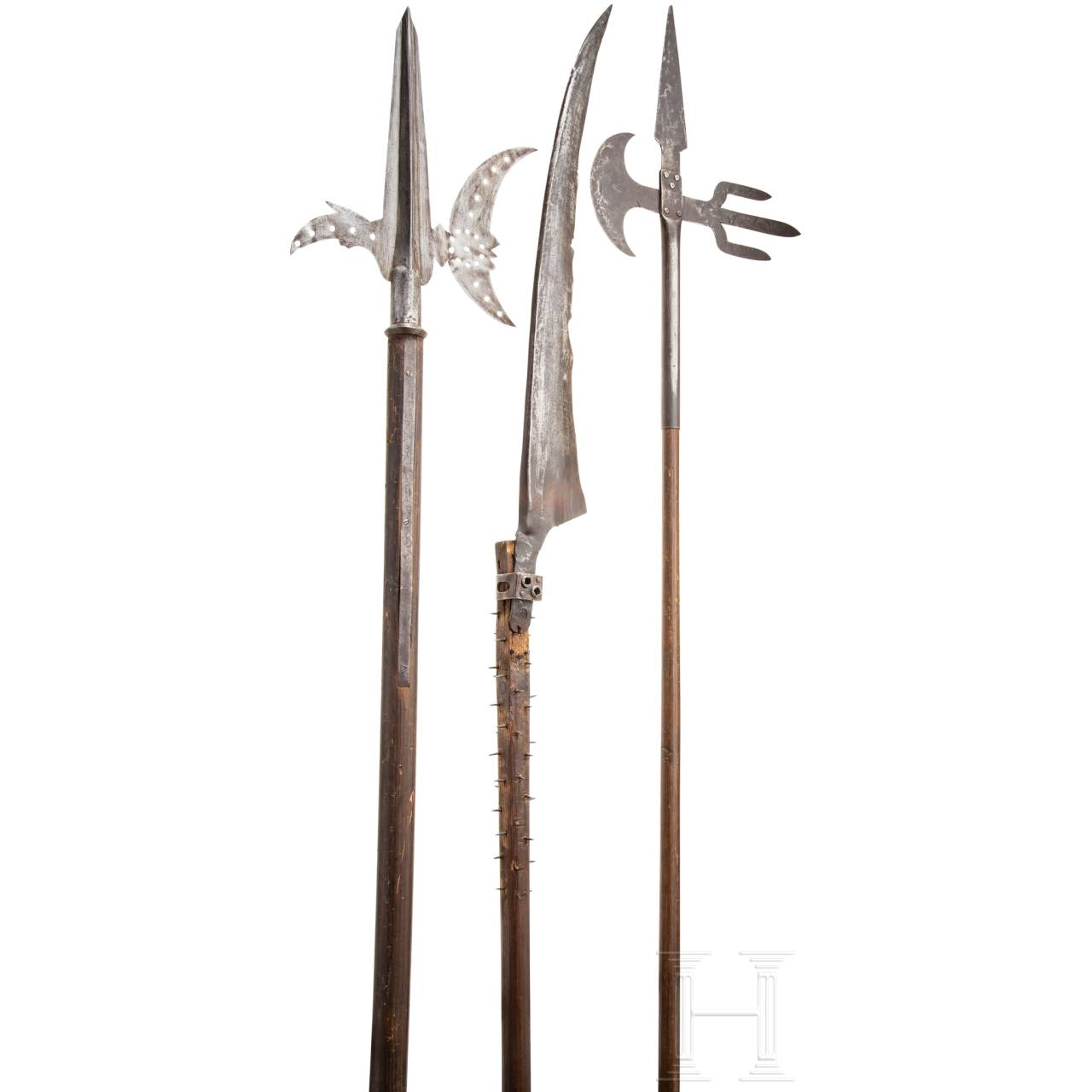 Three pole weapons, modern replicas in style 16th/17th century