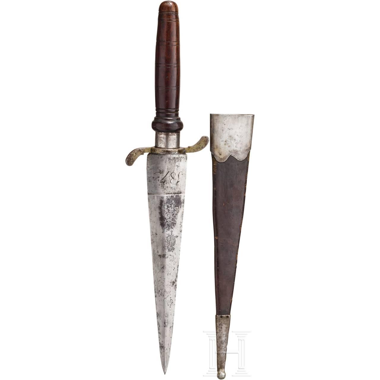 A German hunting plug bayonet, dated 1873