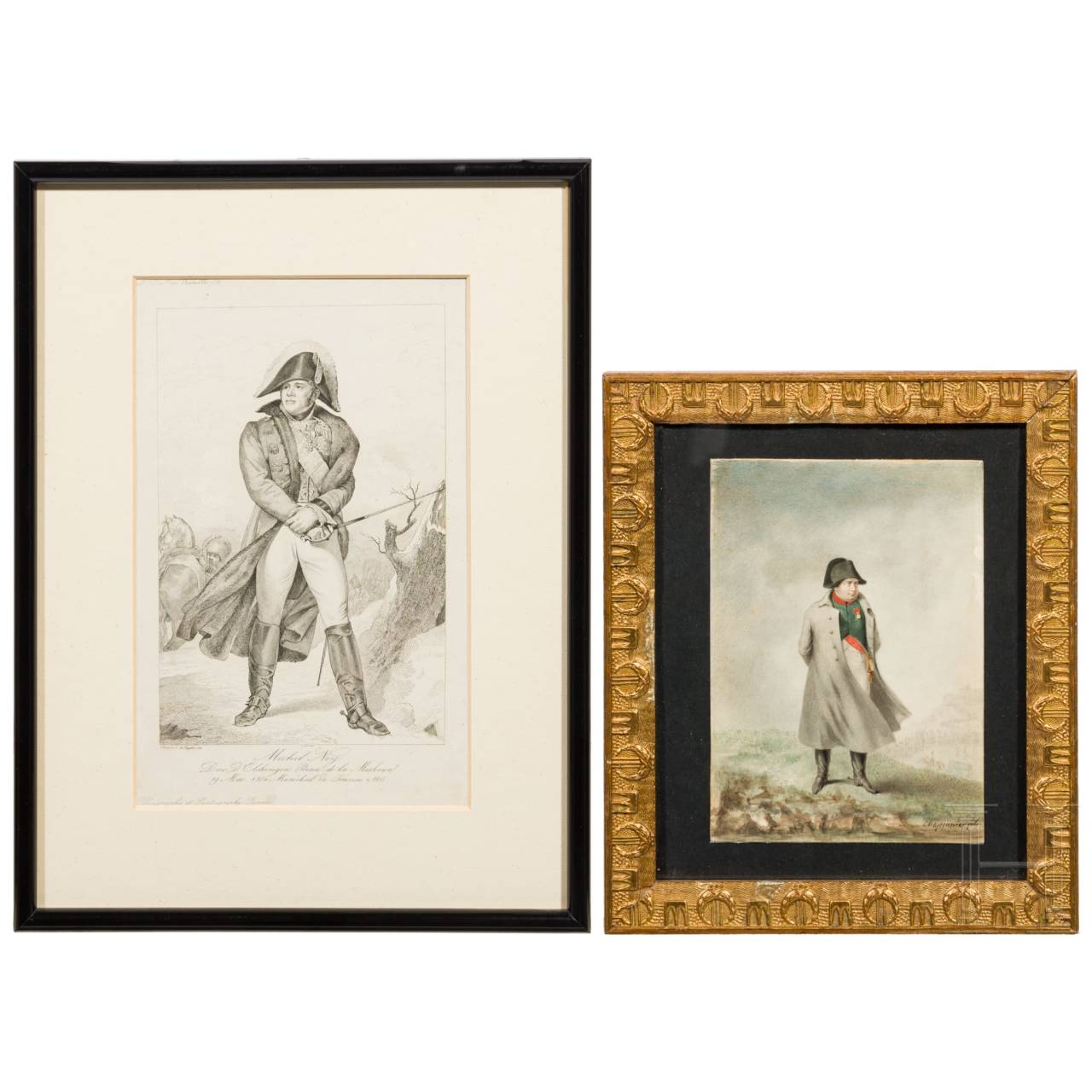 A contemporary watercolour of Napoleon and an engraving of Ney