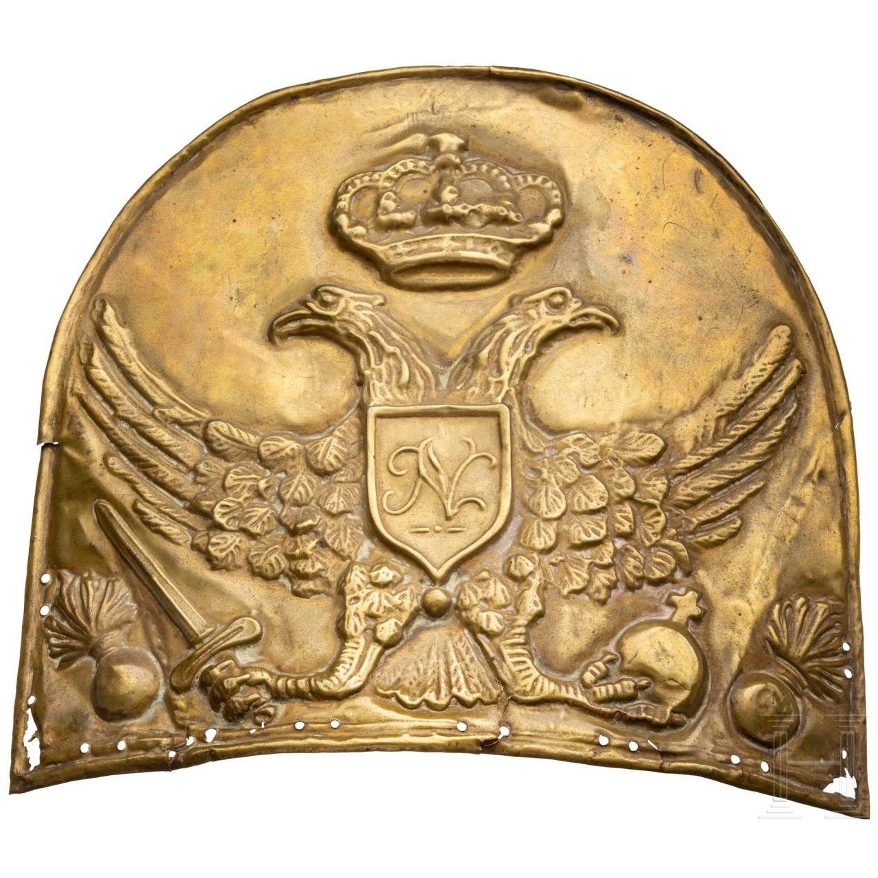 An unknown grenadier cap plate, 18th century, possibly Russian