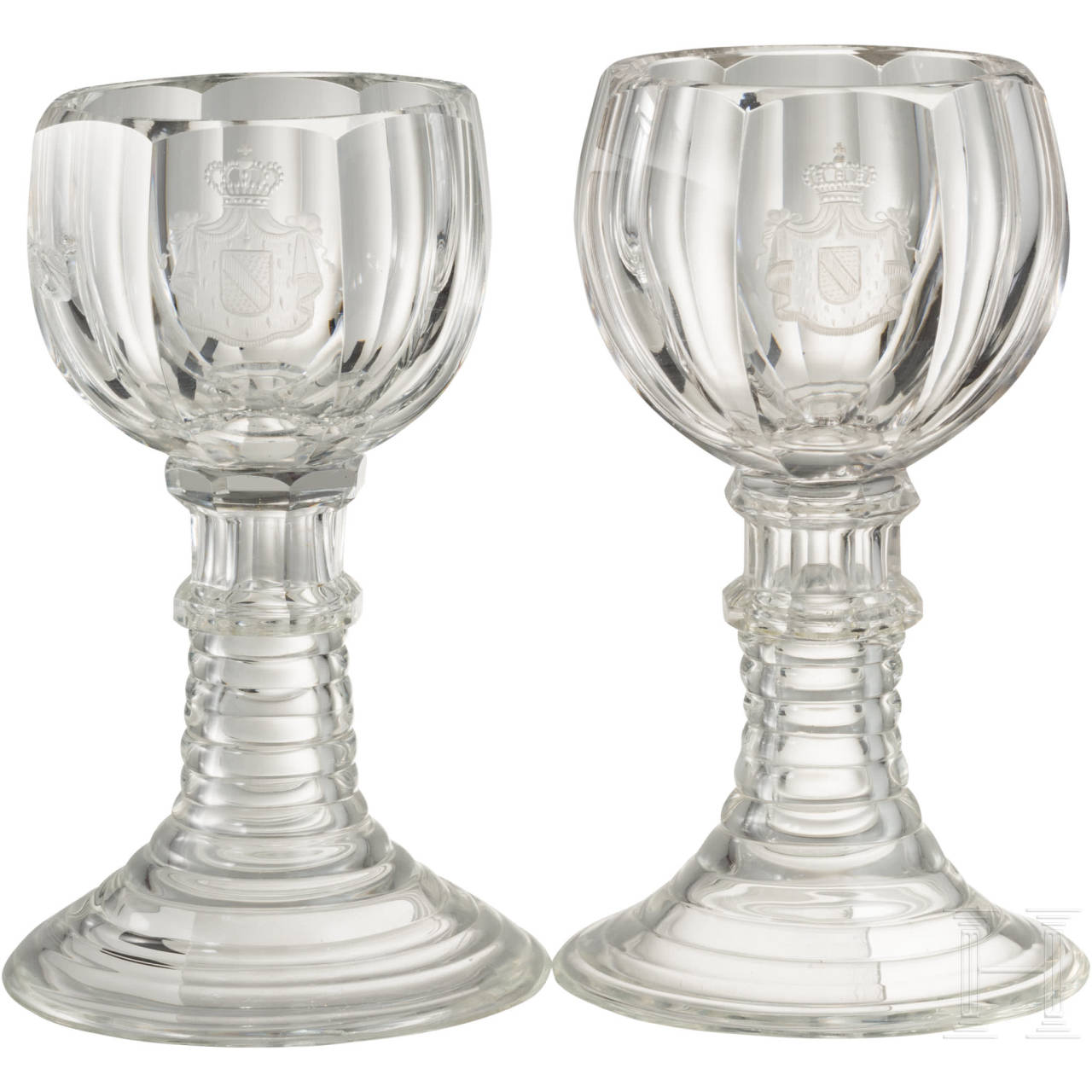 Two liqueur glasses with the coat of arms of the Grand Dukes of Baden