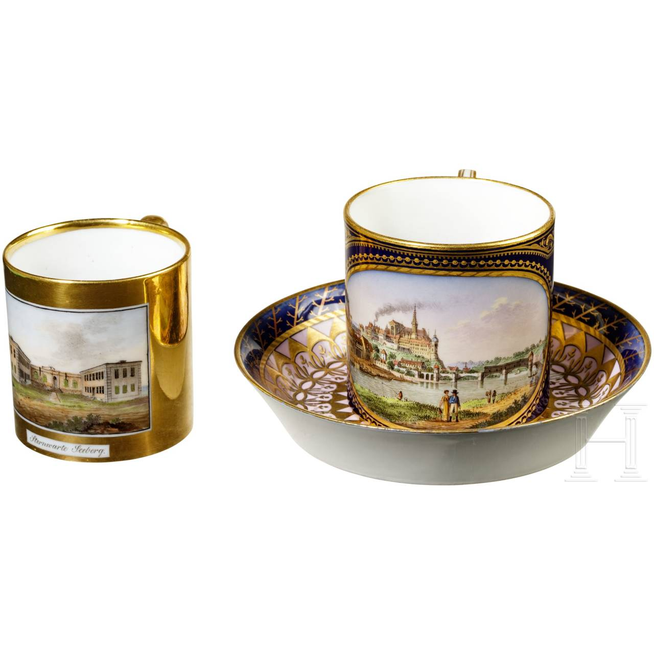 Two cups, Meissen and Gotha, 1st half of the 19th century