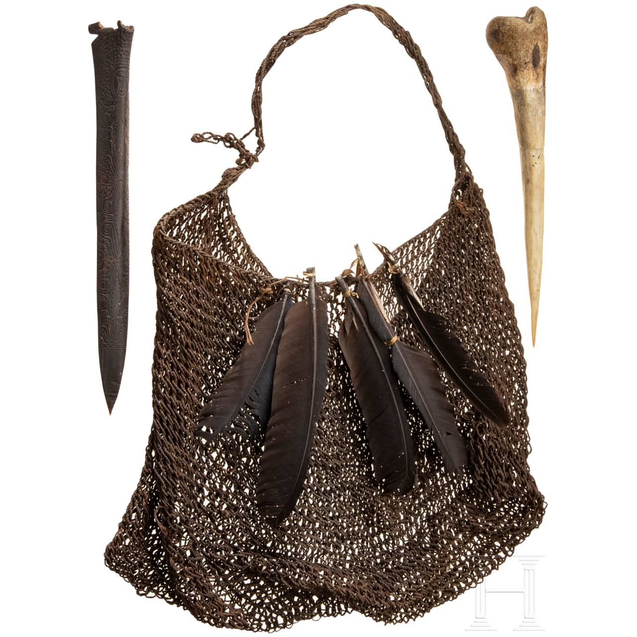 A hunting bag and two daggers, Papua New Guinea