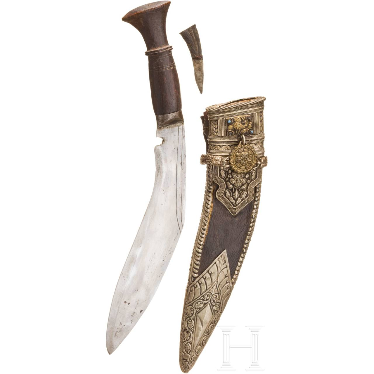 A nickel silver mounted khukri, Nepal, 1st half of the 20th century